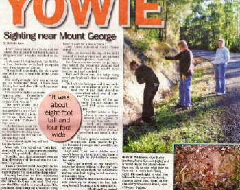 Manning Times Newspaper Article Yowie Sighting